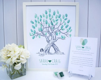Custom Pet Wedding Fingerprint Tree Guestbook