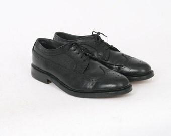 Mens 10.5 E Black Brogues Leather Lace Up Wingtip Vintage Oxfords Formal Dress Shoes