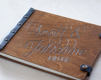 Caligraphy Guest Book, Guestbook, Custom Guest Book,  Bridal Shower Gift, Wood Guest Book