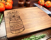 Walnut Wood Personalized Cutting Board Mason Jar Chopping Block ~ Birthday Gift, Gift for couple Christmas, Mothers Day, Summer, Flowers