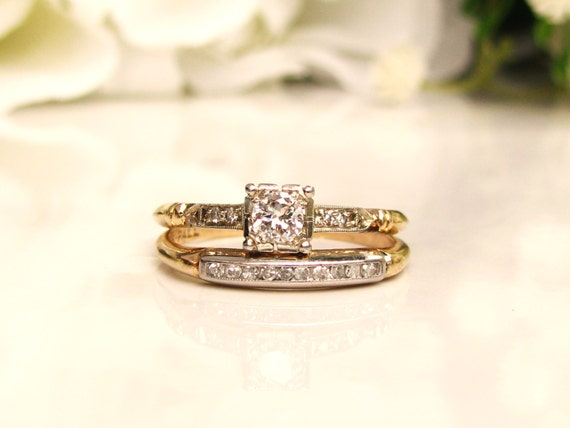 Art Deco Engagement Ring Set 029ctw Diamond Wedding Set 14K