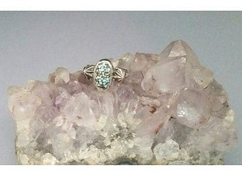 Sterling Silver Oval Number 8 Natural Turquoise Ring Size 8 Oxidized 925