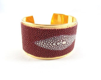 Unique piece - Cuff HORUS Carmine Red - line of Leather -  Stingray - designer jewelery made in France