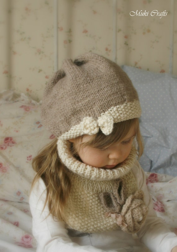 KNITTING PATTERN  slouchy bow hat Veera and cowl / neck warmer set with crochet flower