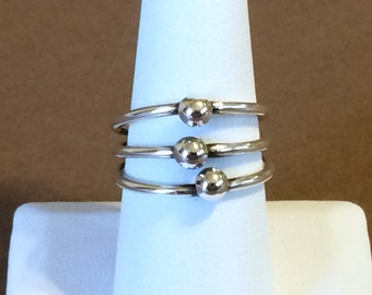 Size 8.5 Sterling Silver Fixed Triple Band Ring