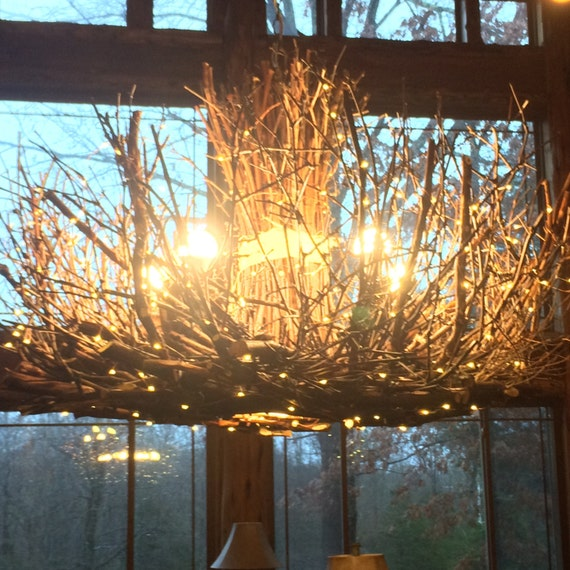Shenandoah 5 1 Down Light Rustic Chandelier Twig: Grandfather Mountain Rustic Outdoor By CraftyGeminiCreation