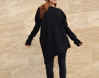 Black Asymmetrical Sweater/ Slouchy Sweater/ Casual Loose Sweater/ Oversize Cotton-Wool Sweater/ Unique Trendy Sweater zm029