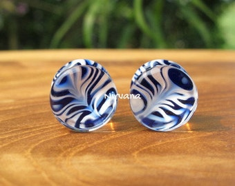 "1 Pair (2 Pieces) Cobalt Blue & White Trippy Hippie Plugs Pyrex Glass Gauges 00g 7/16"" 1/2"" 9/16"" 5/8"" 9.5 mm 10 mm 11.1 mm 12.7 mm - 16 mm"
