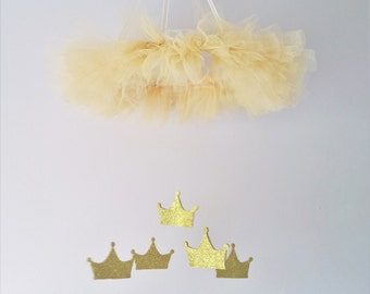 Princess nursery mobile - Gold mobile - Princess mobile - Crown mobile - Baby mobile - Princess nursery - Girls room decor