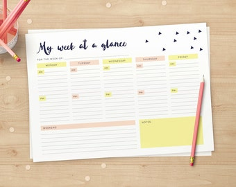 Modern Weekly Planner // Week at a glance // A4 & US Letter // Instant download // Daily Organizer to Print again and again!