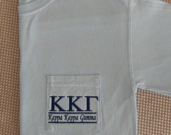Kappa Kappa Gamma, Sorority Shirt, Kappa, Sorority T Shirt, Greek Letter shirt, Pocket T Shirt, Monogrammed Pocket T, Personalized T Shirt