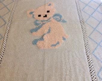 Crocheted gender neutral baby blanket