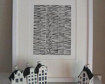 STRIPED PATTERN - Black & White Abstract Print - Lino Print - Minimalist Decor 8x10 - Ready to Ship