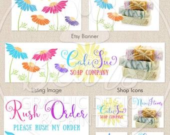 Custom Etsy Banner Set, Shop Banner Package, Etsy Shop Design, Banner Icon Set, Business Card, Etsy Shop Banner, Shabby Chic Banner Set