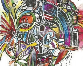 Surreal Face Modern Art Machinery Mental Maze Chaos in Color