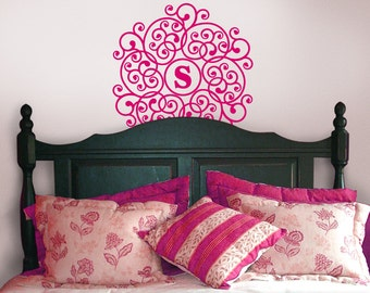 Mandala Vinyl Decal Monogram Circle Decal - Doily Wall Decor - Vinyl Decal Custom Monogram - Custom Bedroom Wall Decal (0172c70v-r3cy)
