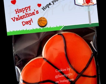 INSTANT DOWNLOAD - Printable Valentine Treat Bag Toppers  - Basketball Valentine's Day