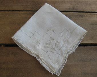 Off White Ladies Handkerchief, Cut Work Hankie, Beige Square Hankie, Wedding Hankie, Victorian, Vintage, Ladies Hankie, Hanky MyVintageTable