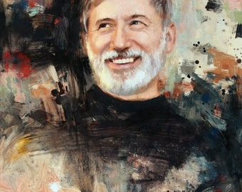 Custom Portrait Painting Oil Personalized 16x20 Modern Abstract Original Fine Art Realistic Person Father Brother Grandfather Mens Gift idea