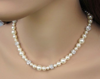Glamorous Pearl Bridal Necklace, Pearl and Rhinestone Necklace, Pearl Crystal Rhinestone Bridal Necklace, Bride Wedding Necklace, Weddings