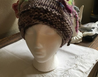 Wool, hand knit hat.  Snowboarding Hat.  Hand knit hat.  Ski Hat  Winter Hat   Funky Winter Hat.