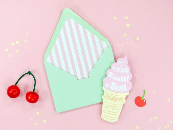 Ice Cream Party Invitation Soft Serve Ice Cream Cone Invitation – Ice Cream Party Invites