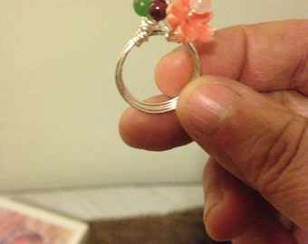 Bead and Flower Ring
