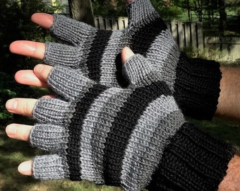 Half Finger Gloves Men's Hand Knit Black, Dark Gray & Light Gray Striped Merino Wool Half Finger Gloves Half Finger Hand Warmers Gloves
