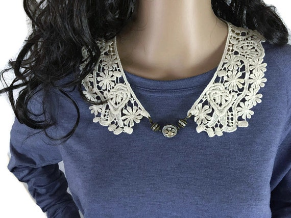 Outlander Claire Lace Collar with Rhinestone Beads - Statement Necklace Fraser Diana Gabaldon FREE SHIPPING FT26