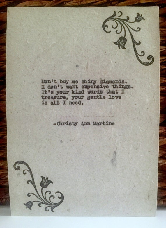 Romantic Gifts for Him - Love Gifts - Quotes - Typed Poems on Handmade Paper with Hand Stamp Design