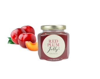Gourmet Red Plum Jelly // All Natural // New Hampshire Home Grown // 6 oz