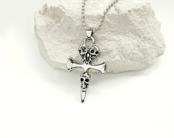 Cross necklace gothic, Viking skulls biker necklace, motorcycle riders necklace silvery, amulet bikers large cross, trinity chain Cross,