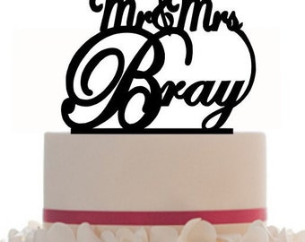 Wedding Cake Topper Mr-Mrs with your last name, choice of color