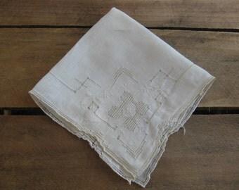 Ladies Handkerchief, Cut Work Hankie, Beige Square Hankie, Wedding Hankie, Victorian Ladies Hankie, Hanky