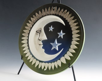 """Crescent Moon Tile/Plaque - Green and Blue Ombre, porcelain, 11-1/2"""" Dia. Indoor or outside."""
