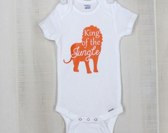 King of the Jungle Baby Short Sleeve Onesie Ready to Ship Lion Onesie Personalized Baby Boy Onesie