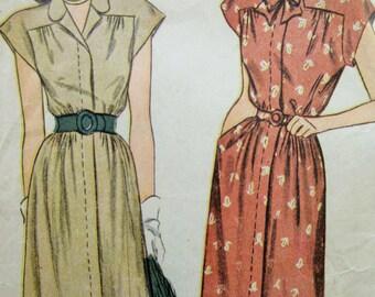 Vintage Simplicity 1595 Sewing Pattern, 1940s Dress Pattern, Dirndl Skirt Dress, 1940s Sewing Pattern, Bust 34, Forties Dress, 40s Pattern