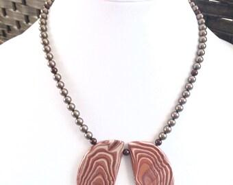 Peppermint Jasper necklace - Arizona Jasper necklace - Minimalist necklace - Swarovski Pearl necklace - natural stone jewelry