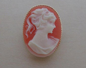 Classic Pink Vintage Cameo Brooch, Pin