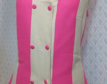 Fabulous Vintage Francesca of Damon Italian 1960's Mod pink and white double breasted wool knit/sleeveless