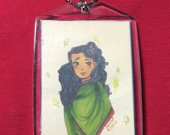 "Keychain - ""Lady with Green Shawl"""