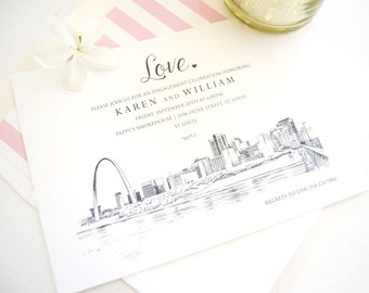 St. Louis Skyline Engagement Party Invitations, St. Louis Engagement Announcements You Design it! (set of 25 cards)