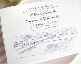 Outfield Outfitters Center Bridge, Okatie, South Carolina Skyline Save the Date Cards (set of 25 cards)