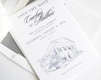 University of Georgia Chapel, Athens, Georgia, UGA, Skyline Save the Date Cards (set of 25 cards)