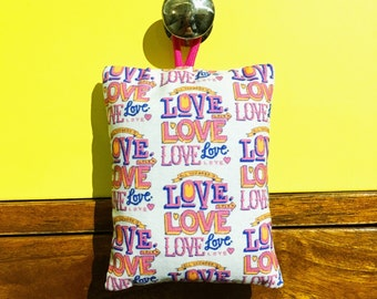 All You Need Is Love - hand printed lavender bag (hand drawn typographic pattern)