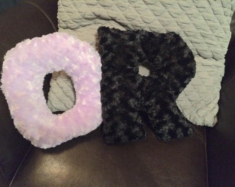Stuffed Minky Swirl Fur Letter Pillow Letter Pillow Decorative Initial Pillows