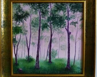 """Original Oil Painting, Landscape, Forest. 10""""X10"""" Home decor"""