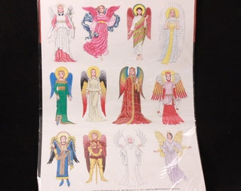 Vintage 1995 B. Shackman Angels Through the Ages.  12 Embossed Sealed Pressure-Sensitive Stickers