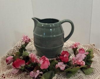 Green Ceramic Pitcher, Vintage FTD Pitcher, Mid Century Pitcher, Farmhouse Kitchen Decor, Flower Vase, Centerpiece, Gifts Under 25