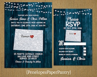 State of Colorado Destination Wedding Invitations,Rustic,Blue Wood,Silver Glitter Print,Strands of Lights,Opt RSVP,Customizable,Envelopes